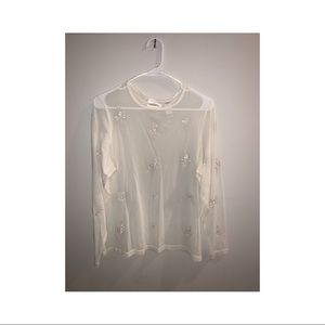 Ivory/cream vintage sheer embroidered top